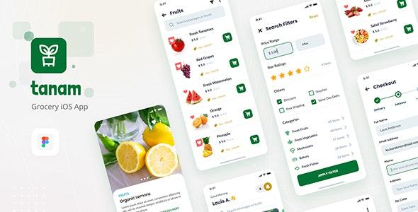 Tanam - Clean Grocery iOS App Design Template Figma - Retail Figma