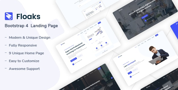 Floaks - Responsive Landing Page Template - Landing Pages Marketing