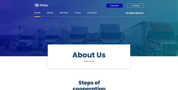 Rolso – Logistic Company Template for Adobe XD