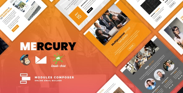 Mercury - Responsive Email for Agencies, Startups & Creative Teams with Online Builder - Newsletters Email Templates