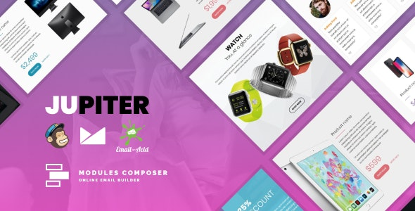 Jupiter - E-commerce Responsive Email Template for Tech Products & Gadgets with Online Builder - Newsletters Email Templates
