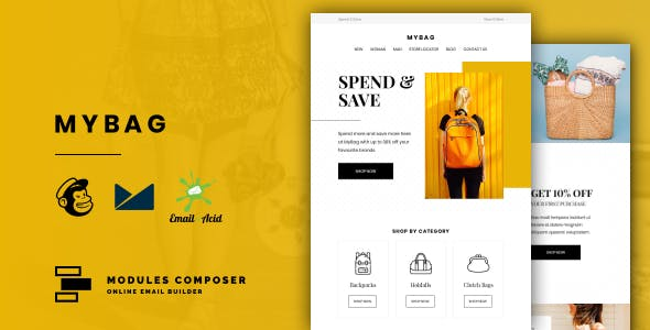 MyBag - E-commerce Responsive Email for Fashion & Accessories with Online Builder