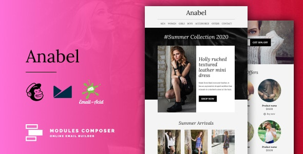 Anabel - E-commerce Responsive Email for Fashion & Accessories with Online Builder - Newsletters Email Templates