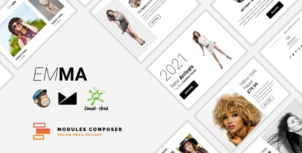 Emma - E-commerce Responsive Email for Fashion & Accessories with Online Builder - Newsletters Email Templates