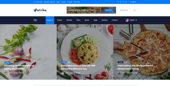 Patrika -  News & Magazine Blogger PSD Template