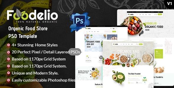 Foodelio - Organic Food Store PSD Template - Retail Figma