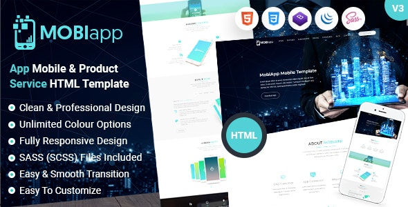 Mobiapp - Mobile App Service & Product HTML Template - Technology Site Templates