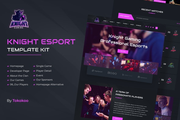 Knight | e-Sports Elementor Template Kit - Sport & Fitness Elementor