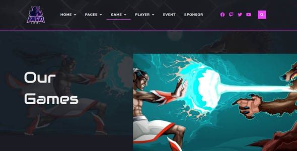 Knight | eSports & Gaming Elementor Template Kit