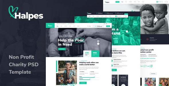 Halpes - Non Profit Charity PSD Template - Charity Nonprofit