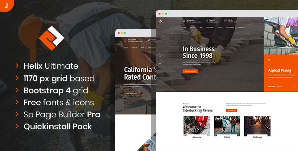 Pawex - Paving Contractor Joomla Template with Page Builder - Joomla CMS Themes