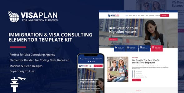 VisaPlan - Immigration & Visa Consulting Elementor Template Kit