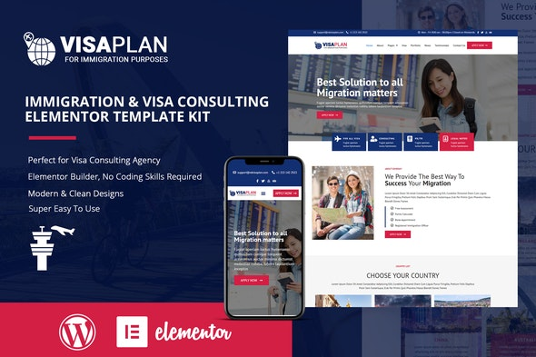 VisaPlan - Immigration & Visa Consulting Elementor Template Kit - Business & Services Elementor