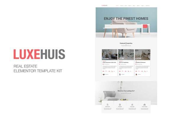 Luxehuis - Real Estate Elementor Template Kit - Real Estate & Construction Elementor