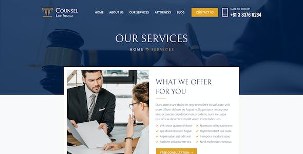 Counsel Law Firm UI Template