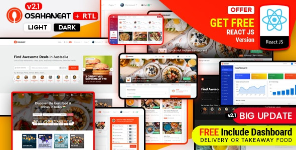 Osahan Eat - Online Food Ordering Website HTML, React Template - Food Retail