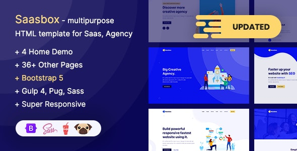Saasbox - Bootstrap 5 Multipurpose HTML Template for Saas & Agency - Technology Site Templates