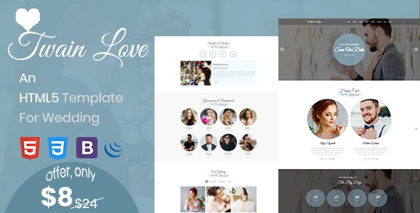 Twain Love - Responsive HTML5 Wedding Template