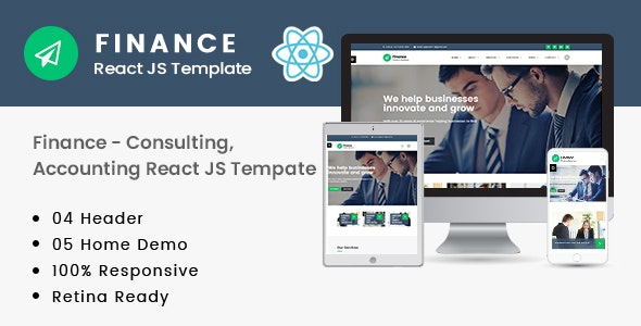 Finance – Consulting, Accounting React JS Template - Business Corporate