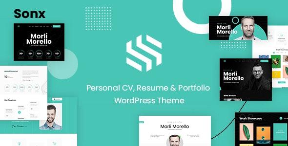 Sonx - Personal Resume and Portfolio WordPress Theme - Creative WordPress
