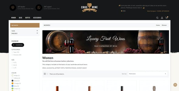 CrusWine - Responsive Prestashop 1.7 Theme
