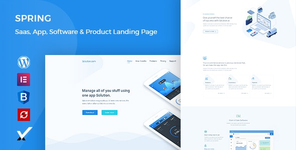 Spring – Software and App Landing WordPress Theme - Software Technology