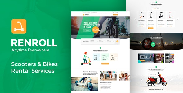 Renroll - Scooter & Bike Rentals Theme - Business Corporate
