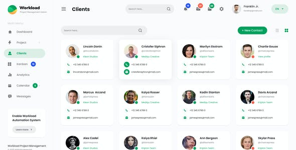 Workload - Project Management Admin Dashboard UI PSD