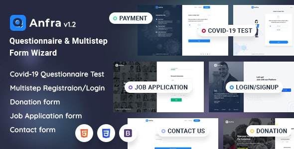 Anfra - Questionnaire & Registration Form Wizard - Specialty Pages Site Templates