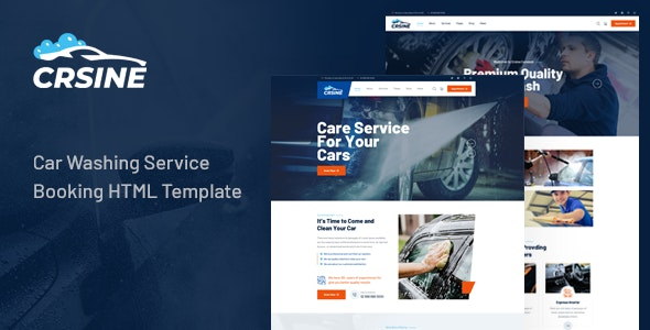 CRSINE - Car Washing Service Booking HTML Template - Business Corporate