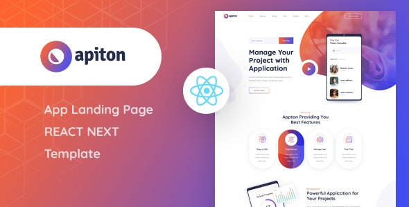 Apiton - React Next App Landing Page Template - Technology Site Templates
