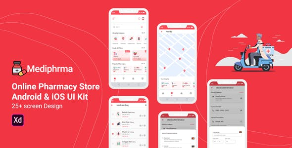 Mediphrma - Online Pharmacy Store Android & IOS UI Kit