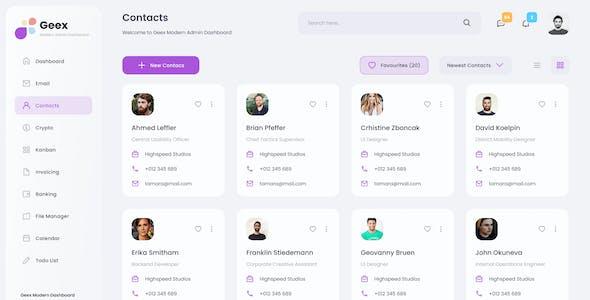 Geex - Modern Elegant Admin Dashboard UI Template Figma
