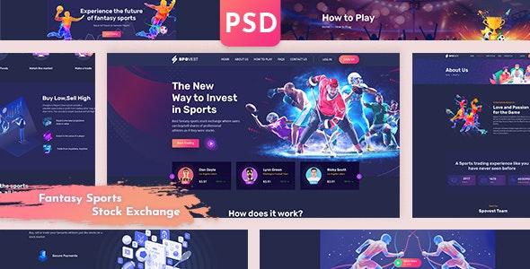 Spovest - Fantasy Sports Stock Exchange PSD template - Entertainment Figma