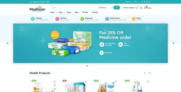 Medilazar - Pharmacy Medical WooCommerce WordPress Theme