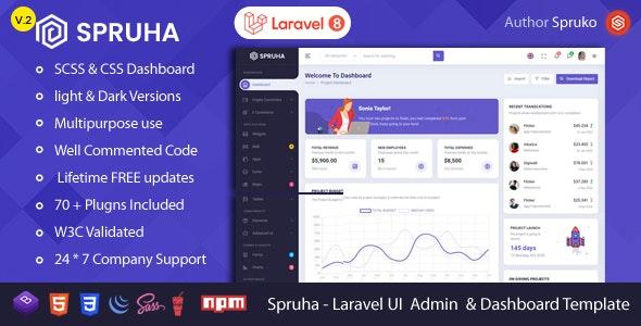 Spruha - Laravel Admin & Dashboard Template - Site Templates