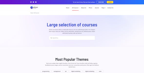 Edison – Online Education Template for Photoshop