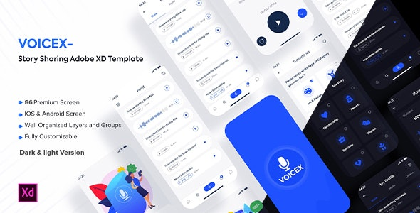 Voicex – Story Sharing Adobe XD Template - Adobe XD UI Templates