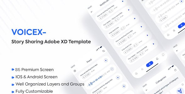 Voicex – Story Sharing Adobe XD Template