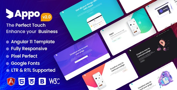 Appo - Angular 11 App Landing Page - Software Technology