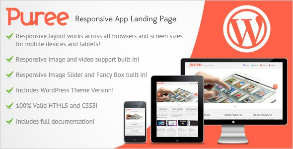 Puree Responsive App Landing Page - Apps Technology