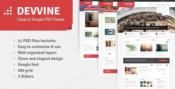 Devvine - Modern and Clean PSD Theme - Corporate Photoshop