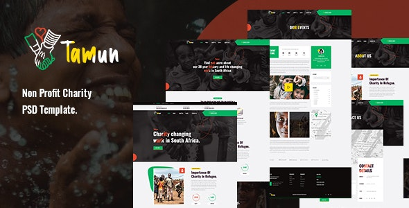 Tamun - Non Profit Charity PSD Template - Charity Nonprofit