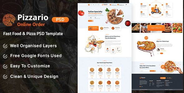 Pizzario - Fast Food & Pizza PSD Temptale