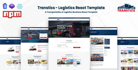 Transtics - Logistics React Template - Business Corporate