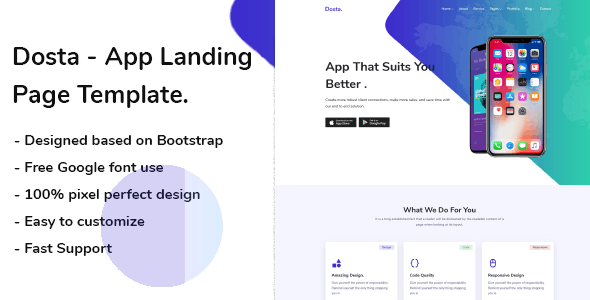 Dosta - App Landing Page - Technology Site Templates