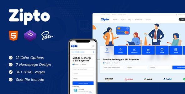 Zipto - Online Recharge and Shopping Template