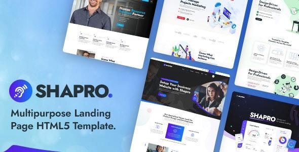 Shapro - Multipurpose Landing Page HTML5 Responsive Template - Marketing Corporate