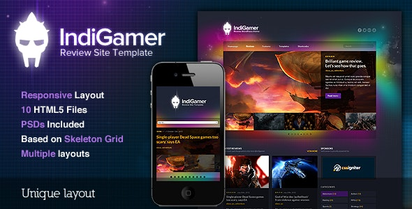 Indigamer - Responsive Review Site Template - Portfolio Creative
