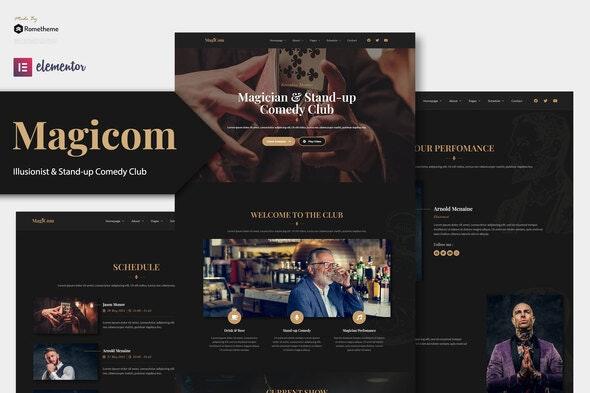 Magicom - Magician & Comedian Club Elementor Template Kit - Events & Entertainment Elementor